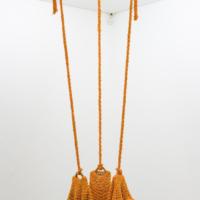 Três Cantos e Uma Dança (Treveste), 2017. Cotton voile crochet, aquamarine gemstone and peroba rosa wood. Variable height x ø 155 cm. Courtesy of Fortes D'Aloia & Gabriel.