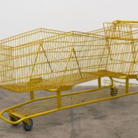 Long Shopper (Limo), 2015. Chromaluscent paint on shopping cart, 42 x 81 x 23. Courtesy Royale Projects, Los Angeles