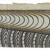 Untitled (Train and Tunnel), c. 1960–63 Gouache, colored pencil, and graphite on pieced paper 13 × 32 ½ in. (33 × 83 cm) Collection of Mary Lee Copp and Peter Formanek Image courtesy Ricco/Maresca Gallery, New York ©️ Estate of Martín Ramírez/courtesy Ricco/Maresca Gallery, New York.