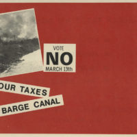 """DeGolyer Library, SMU, Edward C. Fritz Papers, """"Our Taxes, Their Barge Canal"""" Flyer, 1973."""