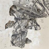 Arqueologías I, tinta y técnica mixta sobre tela, 2017. Cortesía de Rovolver Galería