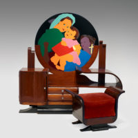 Beatriz González, Gratia plena (tocador), 1971, Industrial enamel on a metal sheet assembled on a wooden vanity table, Overall: 59 x 59 x 15 in., Stool/bench: 17 1/2 x 25 x 14 in. (HWD), Vanity: 55 5/8 in. long x 17 in. deep, The Museum of Fine Arts, Houston, Museum purchase funded by the 2007 Latin American Experience Gala and Auction, 2007.1294, © Beatriz González, Photo © The Museum of Fine Arts, Houston