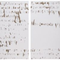"Cynthia Gutiérrez, Ecos de un imperio II, 2014, Fragments of the text ""La caida de Aguila"" by Carlos Gagini removed from drywall 78 x 58 cm / 30.7 x 22.8 inches each. Courtesy of CULT"