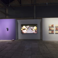 From left to right: Spectrum 1, by Monira Al Qadiri; Morte Súbita, by Jaime Lauriano; and DOPS, by Rafael Pagatini. Photo: Everton Ballardin. Image courtesy of 20º Festival de Arte Contemporânea Sesc_Videobrasil