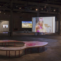 Installation view at Sesc Pompeia. At the back: Faz que vai, by Bárbara Wagner and Benjamin de Burca. Foto: Everton Ballardin. Image courtesy of 20º Festival de Arte Contemporânea Sesc_Videobrasil