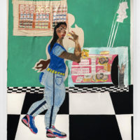 Tschabalala Self, Chopped Cheese, 2017. Acrylic, watercolor, flash, crayon, colored pencil, oil pastel, pencil, handcolored photocopy, hand-colored canvas on canvas, 96h x 84w in. Courtesy of Thierry Goldberg Gallery