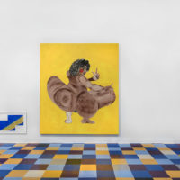 Tschabalala Self. Installation view of Sour Patch, Thierry Goldberg Gallery, Miami, 2017. Courtesy of Thierry Goldberg Gallery