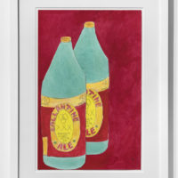 Tschabalala Self, Red Ballantine Beer Bottles, 2017. Hand-colored digital archive print on German etching paper, crayon, colored pencil, and watercolor, 16 1/2h x 10 3/4w in. Courtesy of Thierry Goldberg Gallery