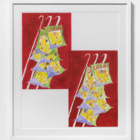 Tschabalala Self, Red Plantano Chip Bags, 2017. Hand-colored digital archive print on German etching paper, crayon, colored pencil, and watercolor, 25h x 21w in. Courtesy of Thierry Goldberg Gallery