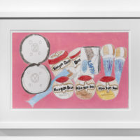 Tschabalala Self, Ice Cream, 2017. Hand-colored digital archive print on German etching paper, crayon, colored pencil, and watercolor, 21 1/2h x 16 1/2w in. Courtesy of Thierry Goldberg Gallery