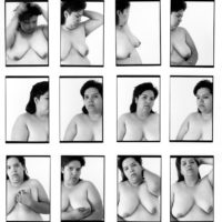 Laura Aguilar, 12 Lauras, 1993. Twelve gelatin silver prints, 24 x 17 inches each. Image courtesy of the artist and the UCLA Chicano Studies Research Center. © Laura Aguilar.