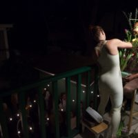 Genevieve Belleveau, Transactional Aesthetics, 2018. Performed with Themba Alleyne.Durational performance with spoken word, harness, and tulips. Courtesy the artist and Garden, Los Angeles. Photo: Cedric Tai.