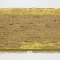 Ronny Quevedo, The History of Rules and Measures #1, 2013. Enamel, gold leaf and contact paper on paper removed from drywall. 48 x 96 inches. Courtesy the artist