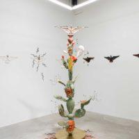 Salvador Jimenez-Flores, Nopales híbridos: An Imaginary World of a Rascuache-Futurism, 2017. Terra-cotta, porcelain, underglazes, gold luster and terra-cotta slip. 96 x 96 x 96 inches. Courtesy the artist. Photo: Colin Conces