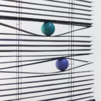 Voyeur, 2017. American blinds and rubber balls. 120 x 70 x 6 cm. Courtesy: ZMUD gallery. Photo credit: Javier Agustin Rojas