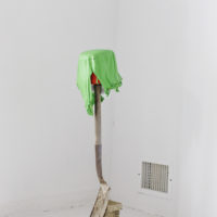 Chemi Rosado-Seíjo Palampara,(Shovelamp from El Cerro leftovers), 2018. Shovel, bucket, bulb, solar charger, paint skin, 40 x 9 x 9 inches. Photo courtesy: Raquel Pérez Puig
