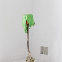 Chemi Rosado-Seíjo Palampara,(Shovelamp from El Cerro leftovers), 2018. Shovel, bucket, bulb, solar charger, paint skin, 40 x 9 x 9 inches. Photo courtesy: Raquel Pérez Puig