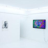 Plastic Ono Kuchi Kaiai, exposición colectiva. Vista de instalación. A la izquierda, collage de Mario Zoots. A la derecha, video de Yoshi Sodeoka
