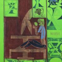 Visita Aníbal, 2015. Acrílico y óleo sobre tela. 96 x 75 cm