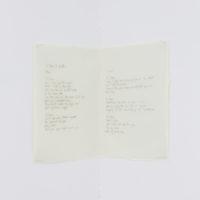Sophia Léon. 2 peas in a pot. Grafito sobre papel vegetal calcado desde la pantalla de la computadora, copiando la letra de la artista, 27 x 43 cm. Cortesía de Malteada La Vida