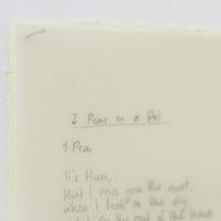 Sophia Léon. 2 peas in a pot (detalle). Grafito sobre papel vegetal calcado desde la pantalla de la computadora, copiando la letra de la artista, 27 x 43 cm. Cortesía de Malteada La Vida