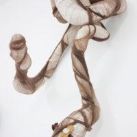 Amaru_7 (detalle), 2018. 68 x 9 cm c.u. Medias de nylon, alambre, semillas, hojas de coca, conchas, caracoles. Cortesía de Crisis Galería