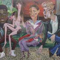 Dalton Gata, La curadora ganadora (Work in progress). Acrylic on canvas. 60 x 77 inches. Image courtesy of Embajada