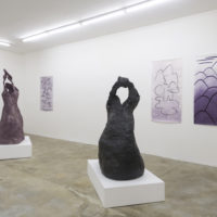 Installation view of Hacer una isla at Ruberta, featuring Alejandra Venegas and Anabel Juárez. Image courtesy of the artists, Ruberta, and BWSMX. Photo: Jeff McLane.