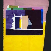 Grace Weinrib, collage que forma parte de la exhibición La isla de los calcetines, en Die Ecke, Santiago, Chile. Fotografía por Esteban Vargas Roa. Imagen cortesía de Die Ecke.