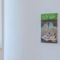 San Poggio y Andrés Pasinovich. Vista de la exposición No es un río que canta es el pantano, enMaria Casado Home Gallery, Buenos Aires, Argnetina, 2018. Cortesía deMaria Casado Home Gallery