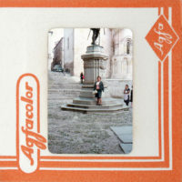 Juvenal Barría, Ficciones Exteriores nº08, 2018. Hand manipulated vintage Agfa color slide mounted on a backlit acrylic box. 2 1/5 × 2 1/5 in (5.7 × 5.7 cm). Image courtesy of Isabel Croxatto Galería.