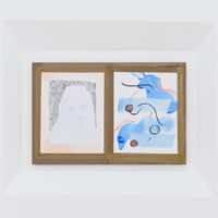 Faces / Back and Forth, 2018. Díptico de dibujos montados sobre mdf, Acrílico gouache, temple de huevo, Flashé y lápiz de color sobre papel de algodón, 65 x 43 cm. Cortesía de Lodos