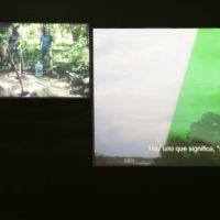 That which identifies them like the eye of the Cyclops, Beatriz. Santiago Muñoz. Instalación de video de tres canales. HD, 10:10 minutos, 2016.Cortesía de Lima Independiente Festival Internacional de Cine y Centro Cultural de España en Lima