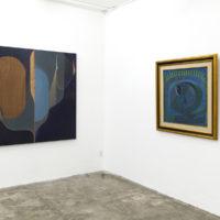 Vista de la instalación con obras de Omar Barquet y Pedro Coronel. Cortesía de ESPAC