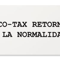 ECO TAX, 2018 (Spanish version of Peter Fend word stacks interpreted by collaborators from TVGOV and Embajada). Inkjet print on PVC. 18 X 30 inches. Image courtesy of Embajada