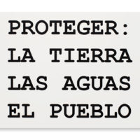 PROTEGER, 2018 (Spanish version of Peter Fend word stacks interpreted by collaborators from TVGOV and Embajada). Inkjet print on PVC. 18 X 30 inches. Image courtesy of Embajada
