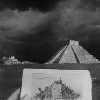 Leandro Katz, El Castillo (Chichén Itzá), 1985. Gelatin silver print. 20 x 16 in. Blanton Museum of Art, The University of Texas at Austin, Purchase through the generosity of the Charina Endowment Fund, 2017.
