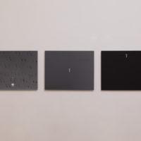 Emanuel Rossetti, dragon, 2018; scissors, 2018; scissors, 2018, b/w prints, all mounted on aluminum, each 39 cm × 49 cm Installation view: Relay Rust, Jan Kaps, Mexico City, 2018. Photo credit: Bruno Ruiz Nava