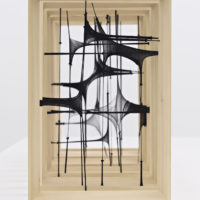 Martín Soto Climent. La noche en estado preciso, 2018. Set of 10 wooden frames with tights. Installation view at PROYECTOSMONCLOVA, Mexico City 2018. Courtesy of the artist and PROYECTOSMONCLOVA. Photo by Patrick López Jaimes