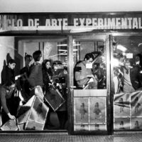 Graciela Carnevale (Argentine, b. 1942), Acción del encierro (Lock-up action), 1968. Ciclo de Arte Experimental, Rosario, Argentina; Photography: Carlos Militello. Black-and-white photographs. Fifteen sheets: 3 9/16 × 5 1/2 in. (9 × 14 cm) or 5 1/2 × 3 9/16 in. (14 × 9 cm); one sheet: 6 7/8 × 9 7/16 in. (17.5 × 24 cm). Collection of Graciela Carnevale/Archivo Graciela Carnevale. ©the artist.