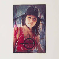Isabel Castro (American, b. Mexico, 1954), from the series Women under Fire, 1980. Mixed media, scratched and dyed slides printed on Xerox. Sheet: 10 × 6 1/2 in. (25.4 × 16.5 cm); mat: 14 1/2 × 18 in (36.8 × 45.7 cm). Collection of Isabel Castro. ©the artist. Photo by Jeff McLane.
