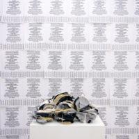 Magda Ramírez,¿Qué tal si sientes cada textura?, 2017. Bordo,vista de instalación en Galería Progreso. Imagen cortesía de Galería Progreso