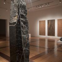 Paula Cortázar, Obras diversas. Grafito sobre madera, grabado en piedra-mármol, 2018. Enfocar la mirada, vista de instalación en MARCO. Foto cortesía de MARCO