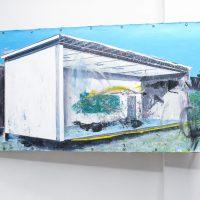 """Rogelio Baez. Paradox of The New Landscape III ,2018. Óleo sobre lienzo / 48"""" x 60"""" in. Afecciones Temporales.Vista de instalación en kilometrodospuntocero. Foto de Cortesía kilometrodospuntocero."""