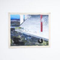 """Rogelio Baez. Paradox of The New Landscape III, 2018. Óleo sobre lienzo / 48"""" x 60"""" in. Afecciones Temporales.Vista de instalación en kilometrodospuntocero. Foto de Cortesía kilometrodospuntocero."""