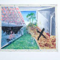 """Rogelio Baez. Paradox of The New Landscape III, 2018. Óleo sobre lienzo / 48"""" x 60"""" in.. Afecciones Temporales.Vista de instalación en kilometrodospuntocero. Foto de Cortesía kilometrodospuntocero."""