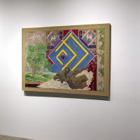 Nicolas Moufarrege, The Importance of Being Evergreen (1979–80). Thread and pigment on needlepoint canvas. 44 x 64 inches. Image courtesy CAMH. Photo by Emily Peacock