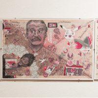 Santiago Robles, Códice Starbuckstlán. Lámina 21, Galería Libertad, Querétaro, 2018. Imagen cortesía del artista