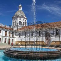 Jessica Briceño Cisneros, Guapondelig, 2018. Sculptural intervention in the pool of San Sebastián. Parque San Sebastián © Photo: Xavier Caivinagua. Courtesy of Cuenca Biennial