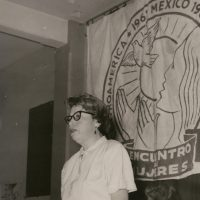 Francisca Flores addressing the Primera Convención de las Mujeres de México, Centroamérica y el Caribe (The Inaugural Convention of Women from Mexico, Central America, and the Caribbean), Mexico City, April 14, 1961. Courtesy of the Department of Special Research Collections, UCSB Library, University of California, Santa Barbara